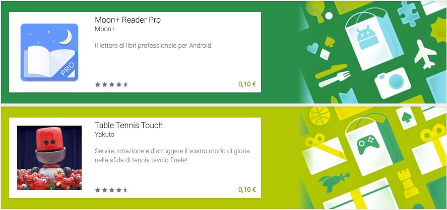 Moon+ Reader Pro e Tablet Tennis in offerta