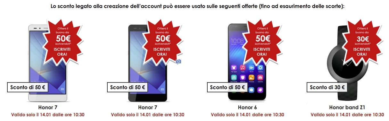 Honor 7, Honor 6 e lo smartwatch band Z1 scontati fino a 50€, solo per oggi