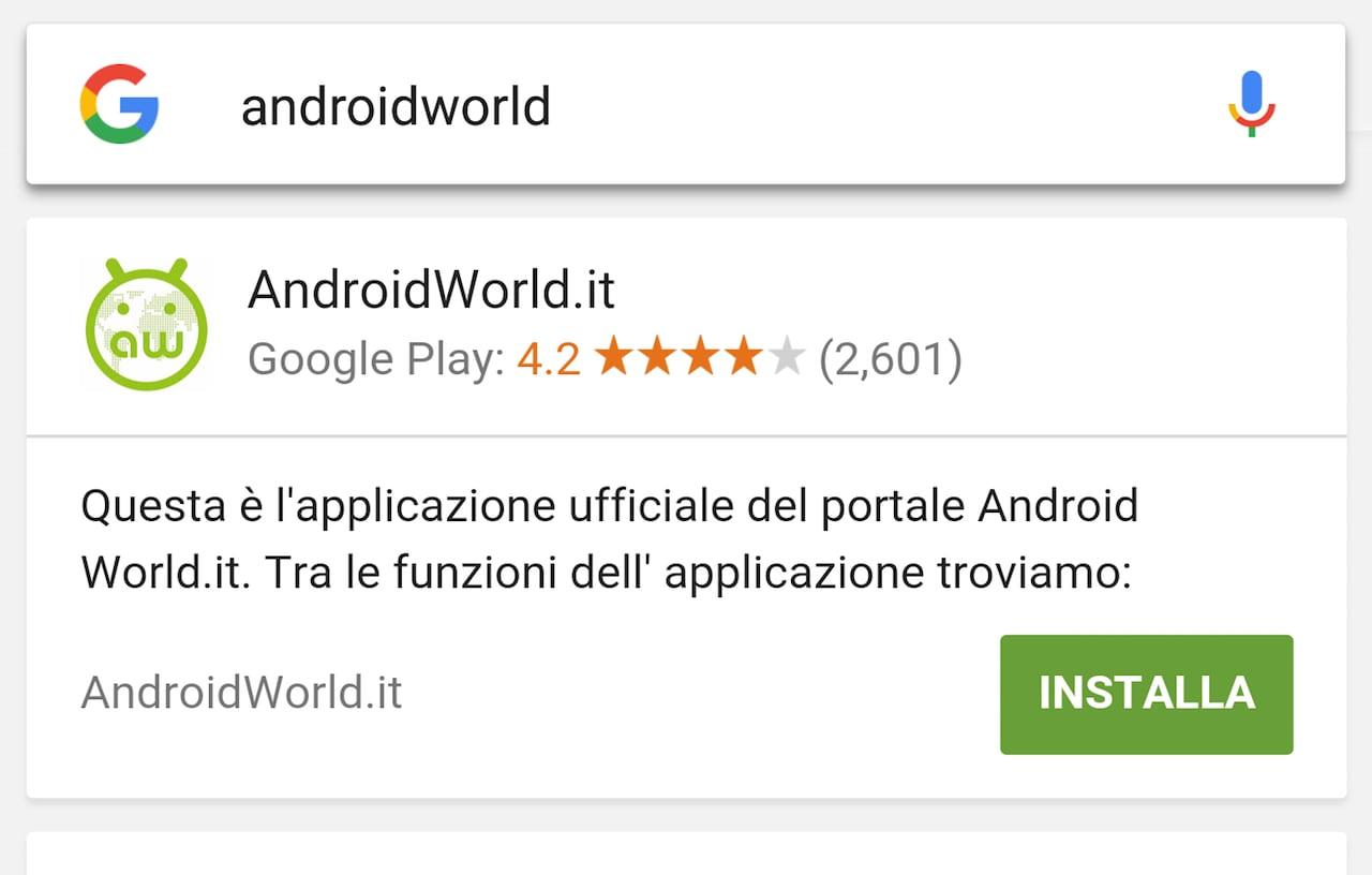 ricerca Google app install
