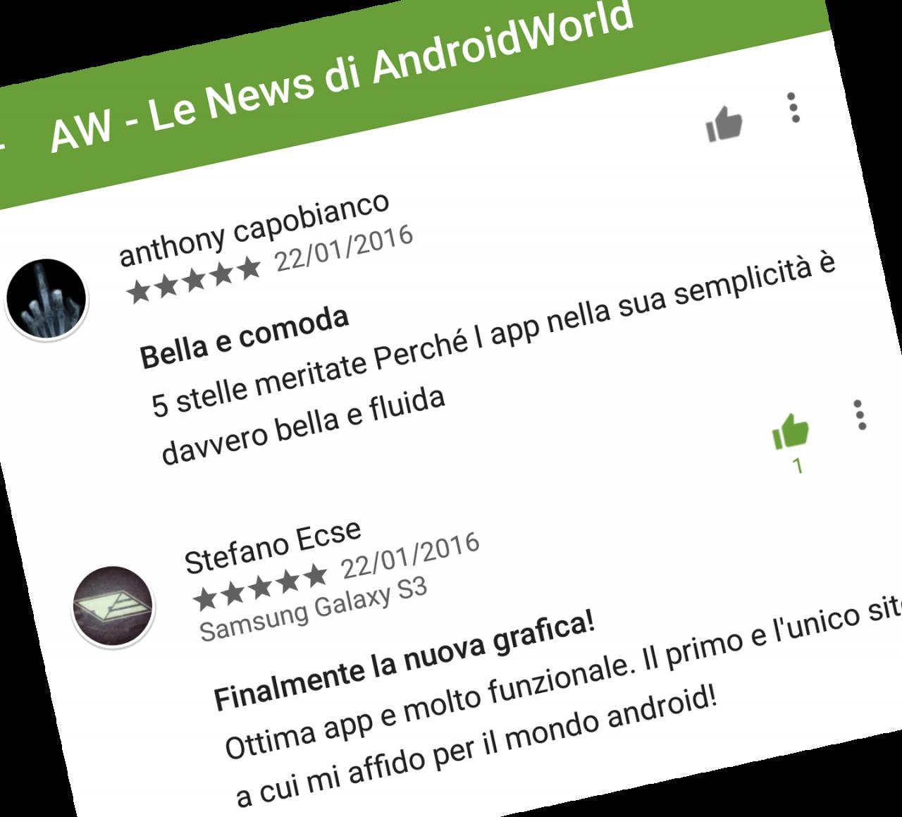 Il Play Store per Android non vuole più sapere se secondo voi un commento non è utile (foto)