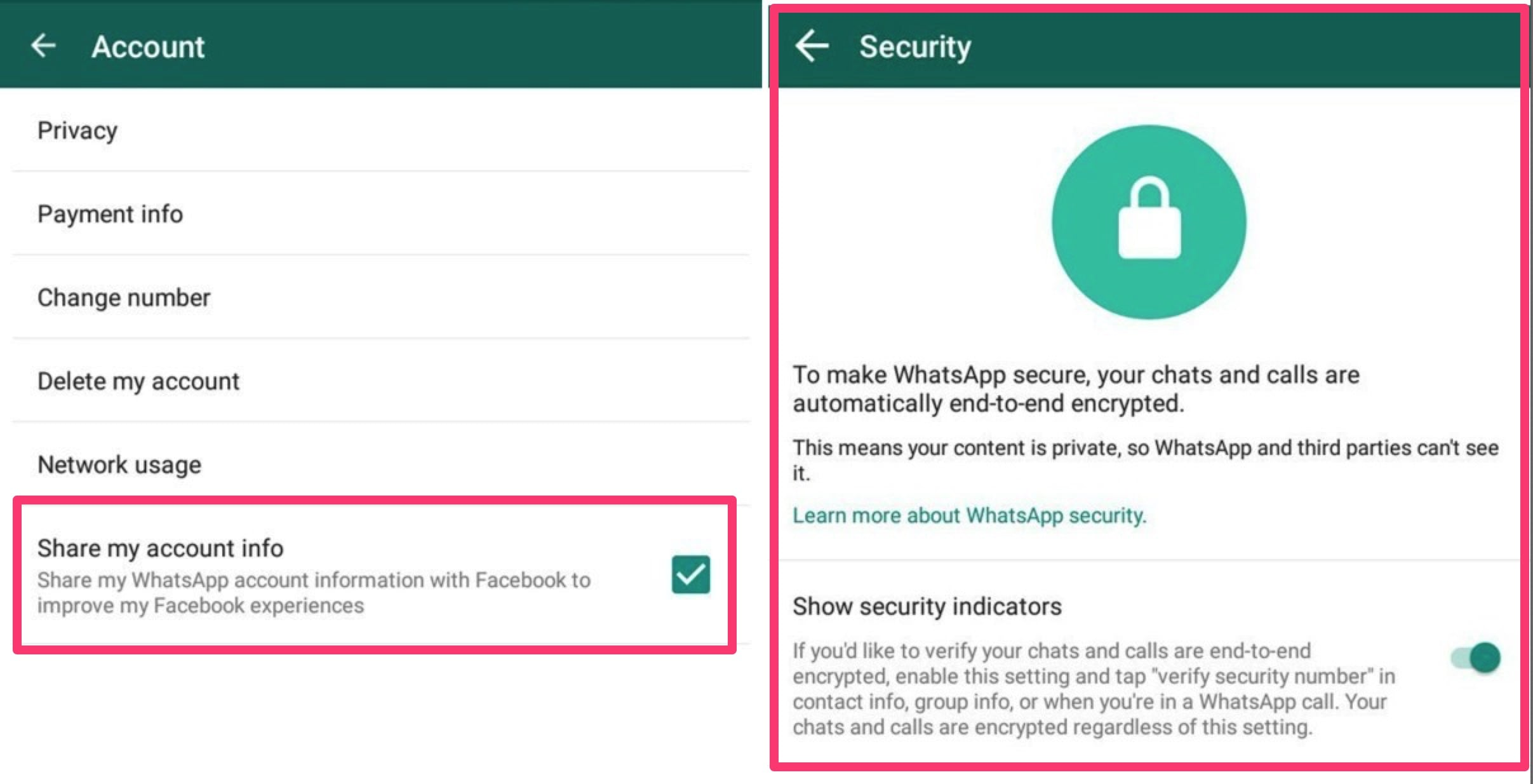 whatsapp condivisione info account con facebook