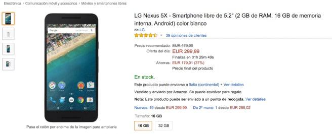 Amazon spagna nexus 5x
