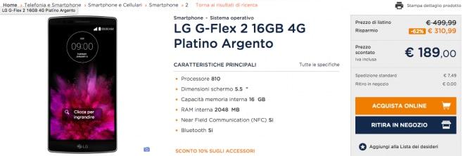 LG G Flex 2 unieuro offerta