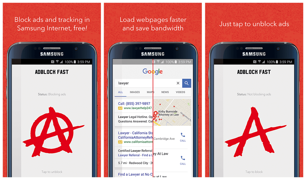 Samsung Adblock nel browser