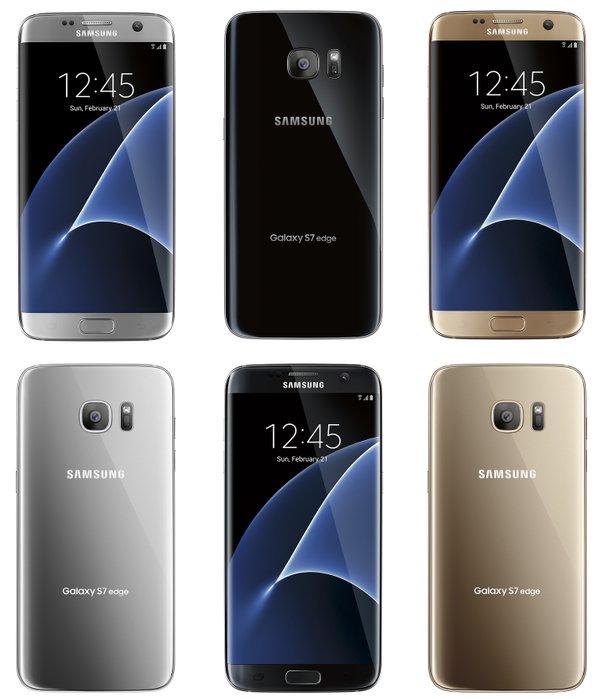 Samsung Galaxy S7 edge - fronte retro - argento nero e oro