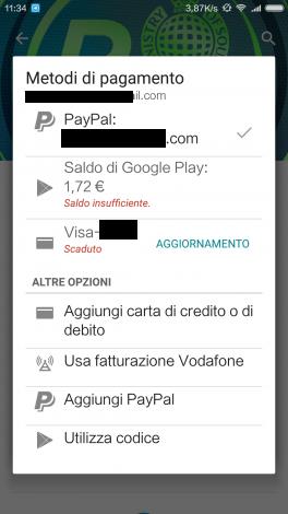 Pagamento Play Store Vodafone