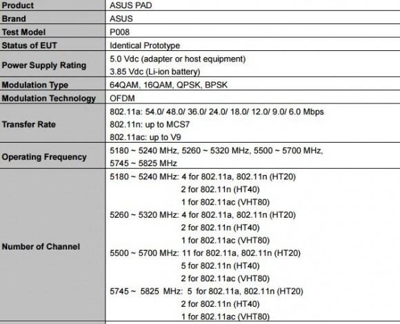ASUS Pad P008 - caratteristiche