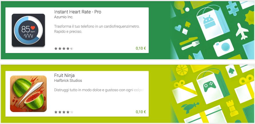 Instant Heart Rate e Fruit Ninja possono essere vostri per soli 10 centesimi ciascuno (foto)