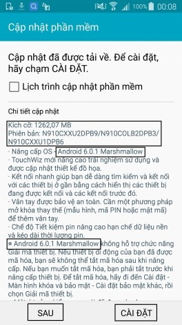 Marshmallow Galaxy Note 4 Vietnam