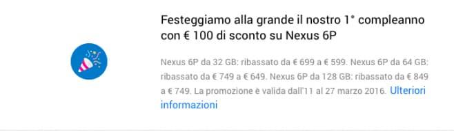 Compleanno Google Store - sconto Nexus 6P