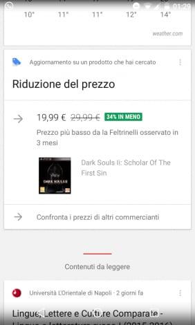 Riduzione del prezzo Google Now