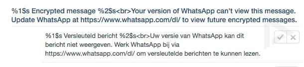 WhatsApp - messaggio crittografato