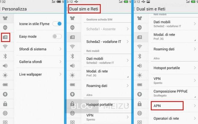 Selezionate l'icona della SIM nelle impostazioni e scorrete fino ad arrivare a APN