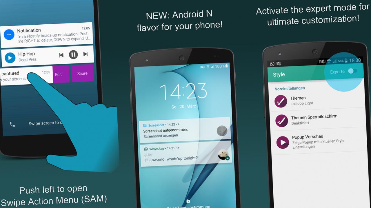 Floatify anticipa Android N con nuove gesture sulle notifiche (foto e