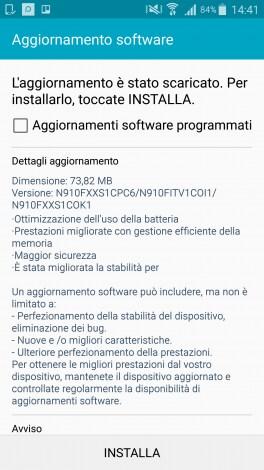 Samsung Galaxy Note 4 - aggiornamento aprile