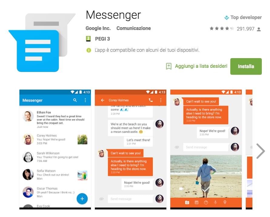 Messenger di Google permette ora di gestire gli SMS memorizzati sulla SIM