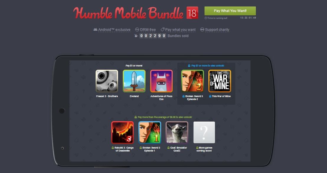 Evoland e This War of Mine nel nuovo Humble Mobile Bundle 18