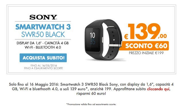 Sony Smartwatch 3 offerta coop