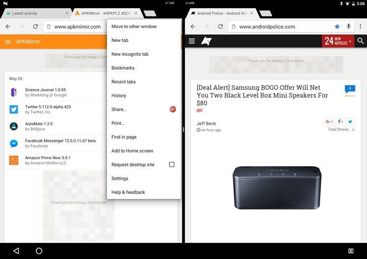 Android N dev preview 3 e Chrome sposano un'ottima modalità multi-window (foto)