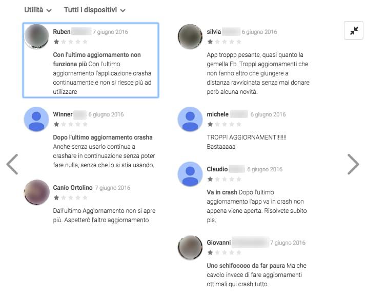 Aggiornamento Messenger commenti