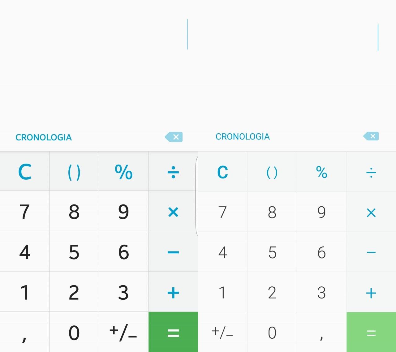 A destra la calcolatrice dell'attuale TouchWiz, a sinistra la nuova versione.
