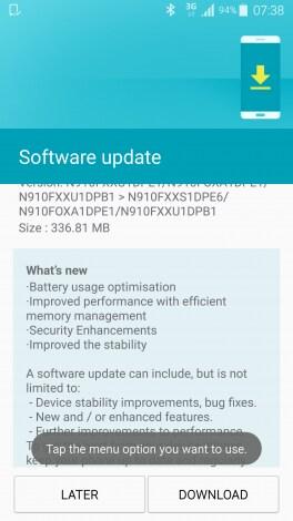 Galaxy Note 4 aggiornamento batteria RAM