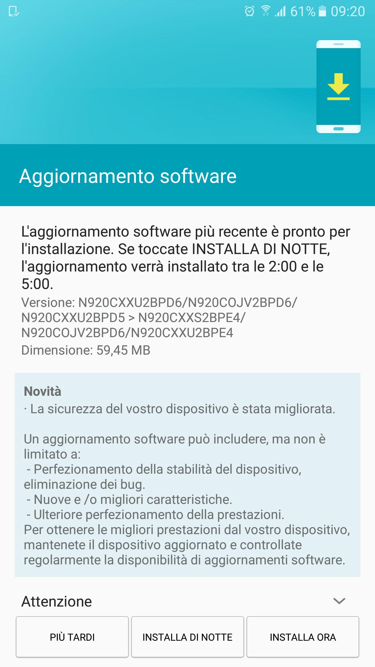 Galaxy Note 5 patch sicurezza giugno update