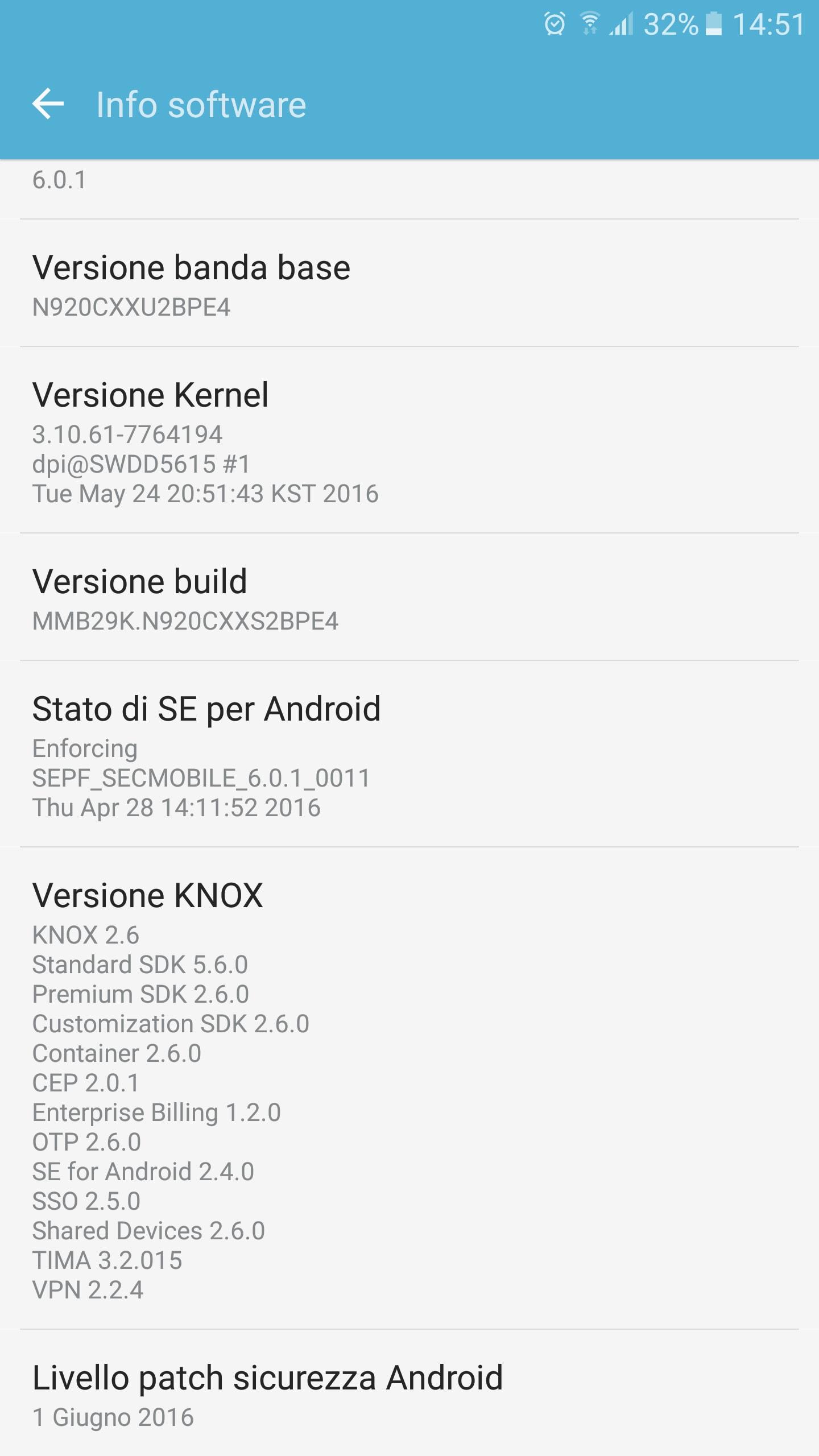 Galaxy Note 5 patch sicurezza giugno