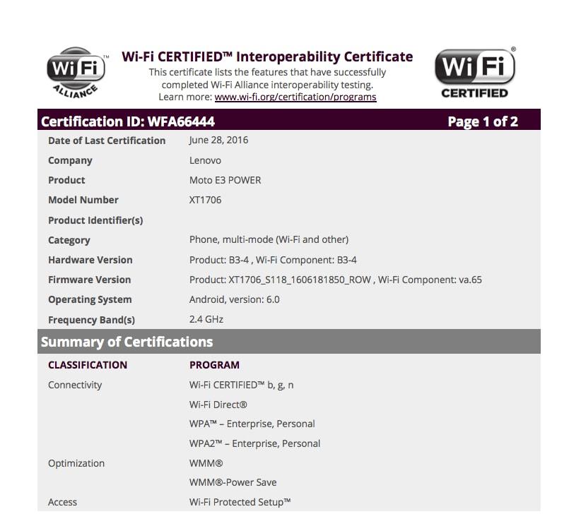 Moto E3 Power Certificazione Wi-Fi