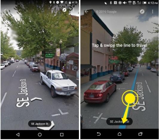 Spostarsi su Street View: prima e dopo