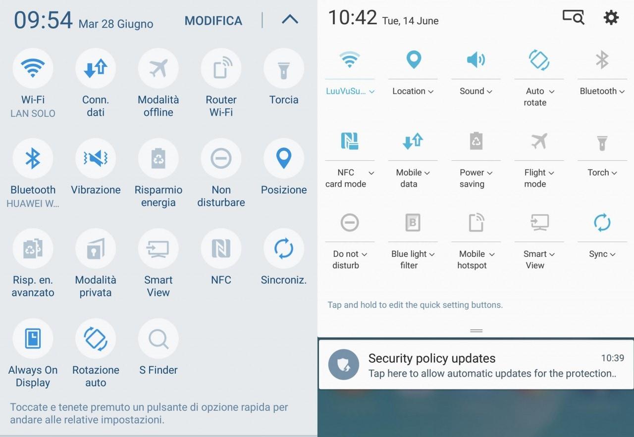 A sinistra i quick toggle di Galaxy S7, a destra quelli della nuova Note UX.