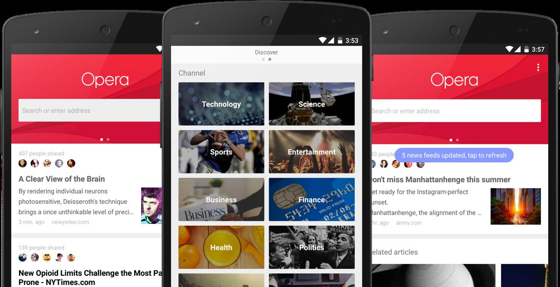 Opera lancia News & Search App, un browser che è anche un news reader (foto)