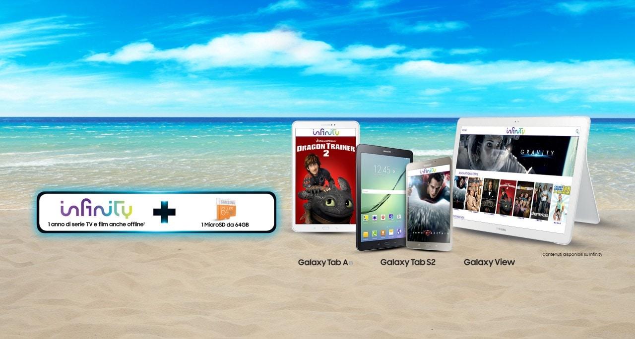 Volete un anno gratis di Infinity? Acquistate Galaxy Tab S2, Galaxy Tab A 10.1 (2016) o Galaxy View!