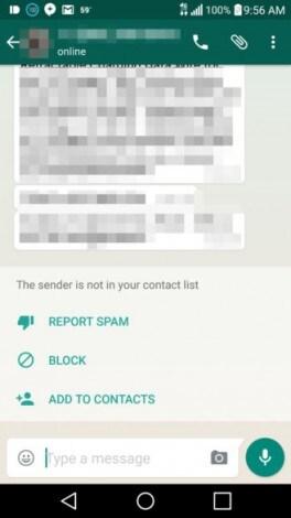 azioni contatti sconosciuti whatsapp