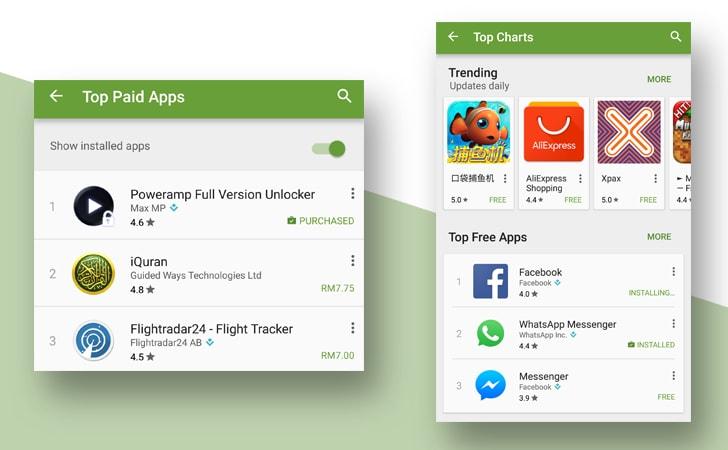 filtro app installate play store - 1