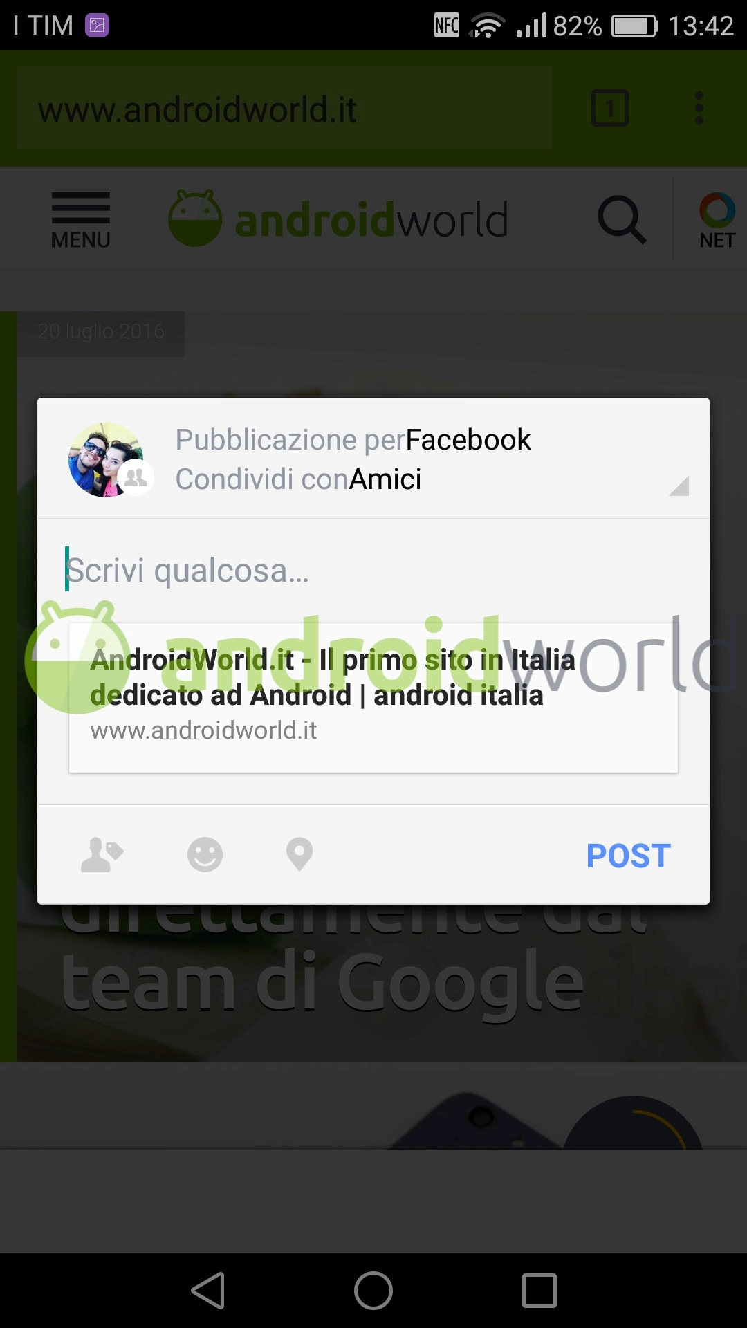 Facebook pop-up condivisione