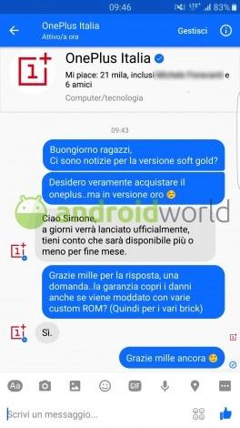 OnePlus 3 soft gold garanzia root