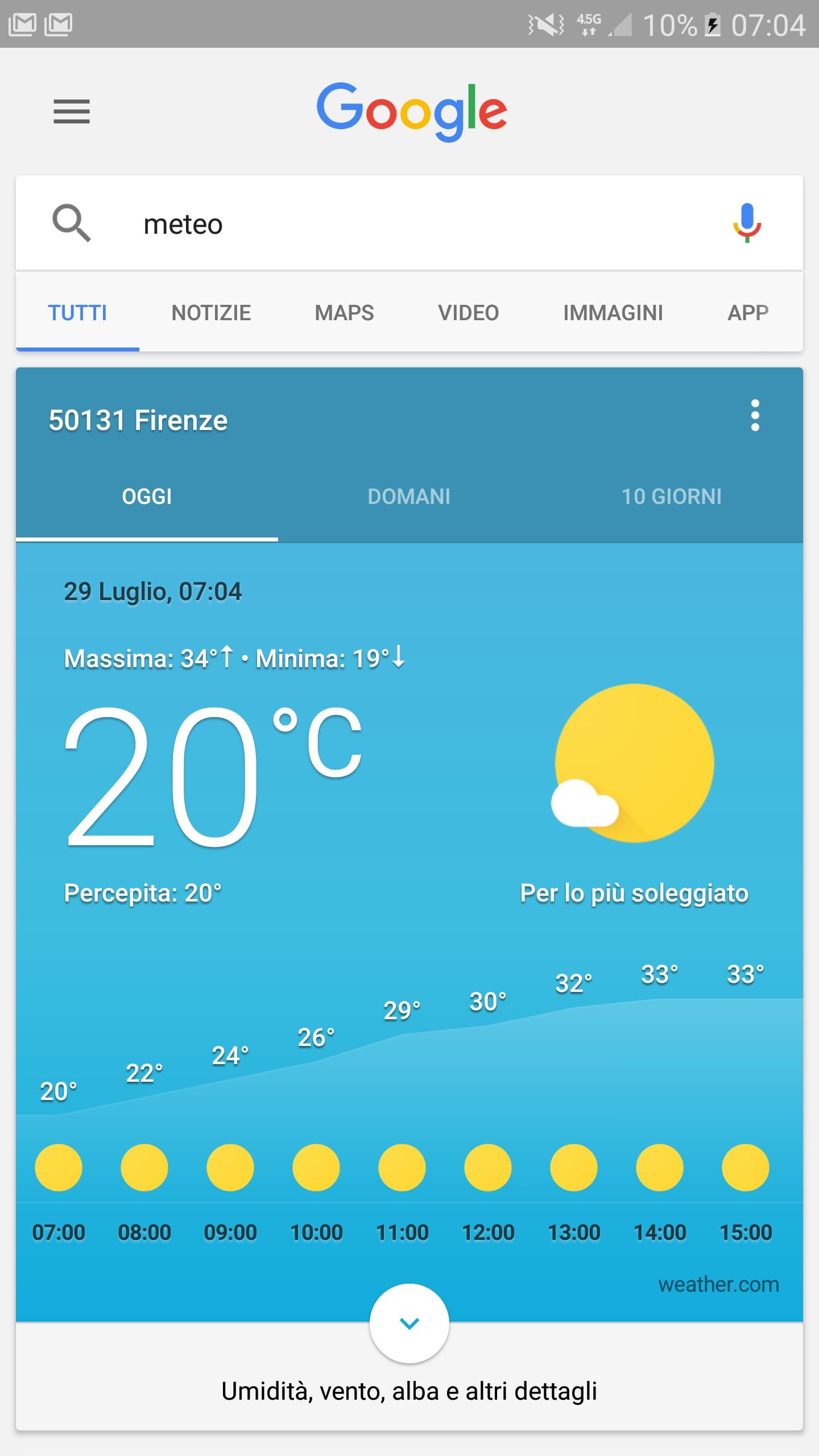 Scheda meteo Google Italia – 1