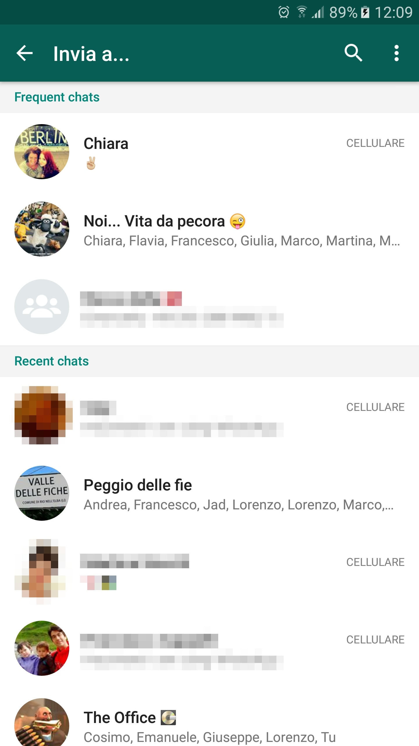 Condivisione raggruppata whatsapp