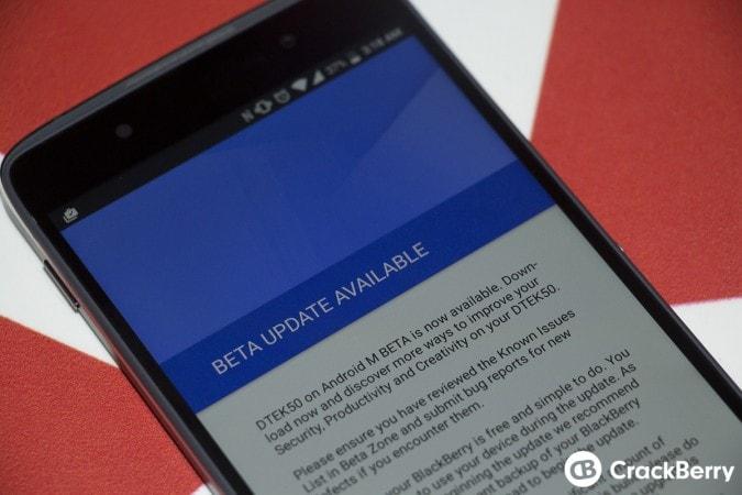 BlackBerry DTEK50 riceve il suo primo aggiornamento beta di sistema