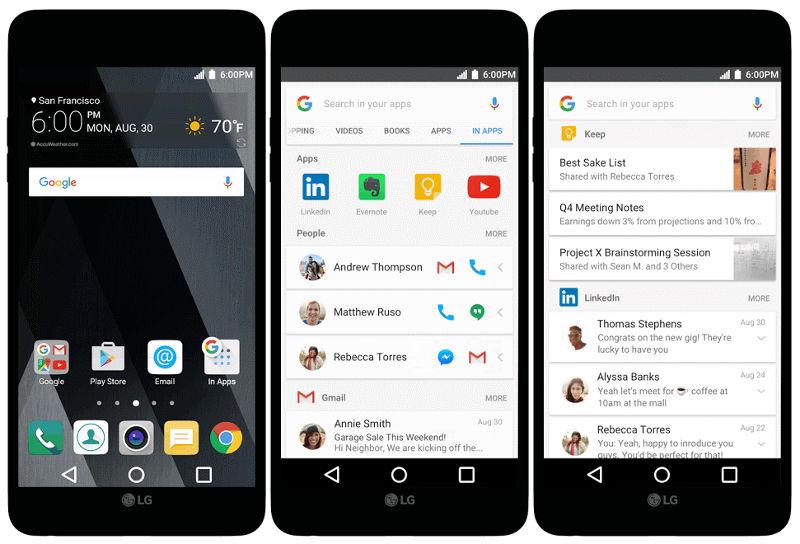 Google introduce In App, per cercare velocemente tra i contenuti delle vostre app