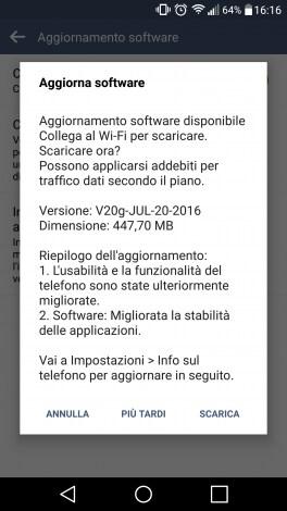 LG G4 Vodafone aggiornamento
