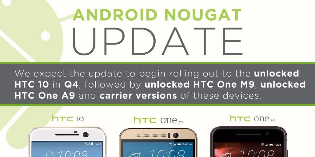 HTC promette l'aggiornamento ad Android Nougat per HTC 10 entro Natale, One M9 e A9 a seguire
