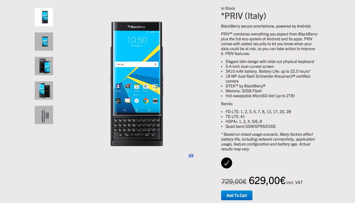 blackberry priv sconto