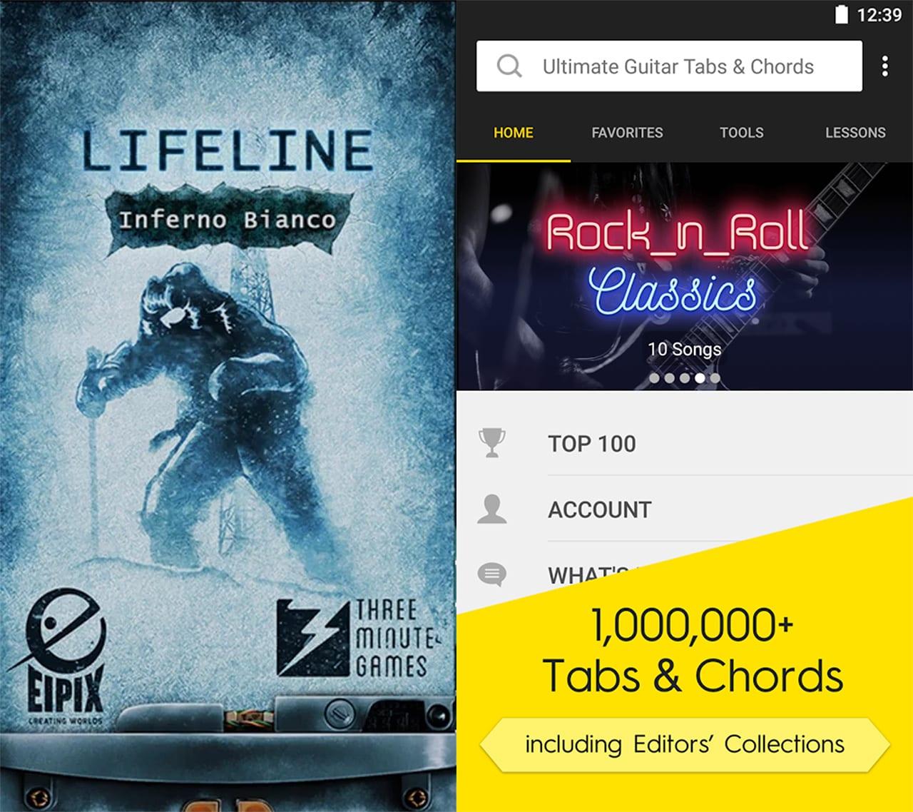 Lifeline: Inferno Bianco e Ultimate Guitar Tabs & Chords sono le app a 0,10€ della settimana