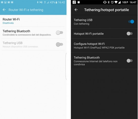 Tethering come condividere connessione smartphone