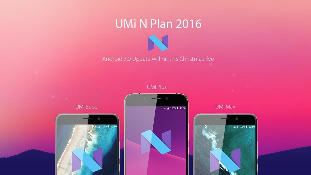 UMi Super, Max e Plus riceveranno Android 7.0 Nougat... la vigilia di Natale!