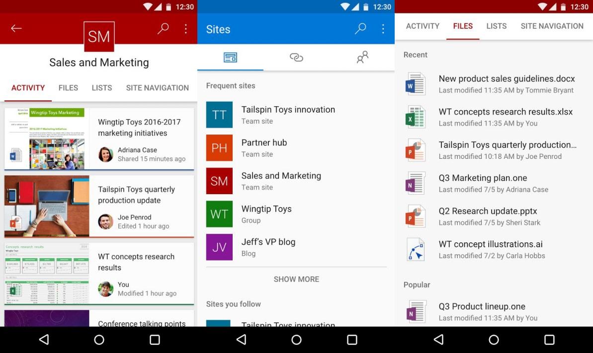 Microsoft rilascia la versione preview di SharePoint per Android