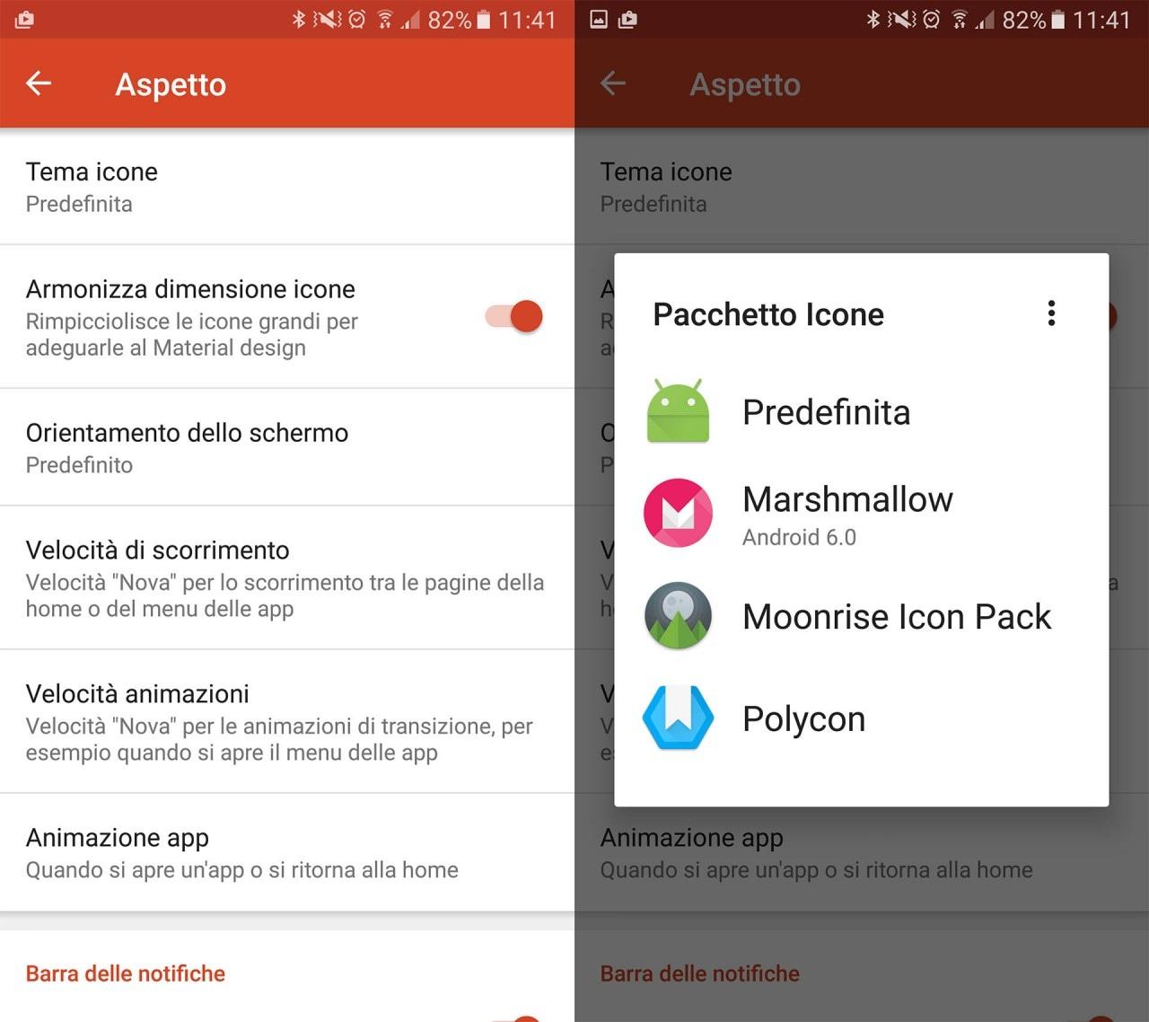 Come Cambiare Icone Android - Dalle impostazioni di Nova Launcher potete trovare la voce Aspetto -> Tema Icone.