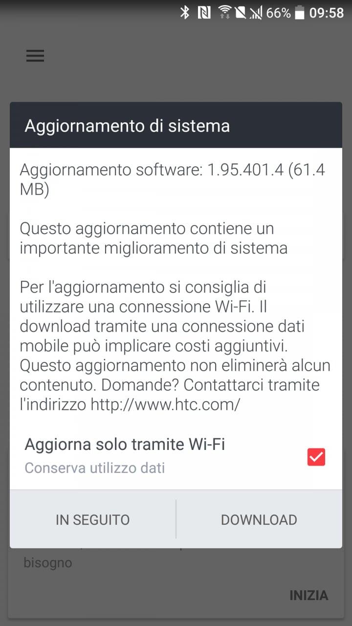 HTC 10 update fine ottobre